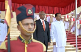 Colombo, February 5, 2019: Sri Lankan President Maithripala Sirisena (R) and Maldivian President Ibrahim Mohamed Solih during the ceremony held to welcome the latter on his first state visit to Sri Lanka. PHOTO/PRESIDENT'S OFFICE