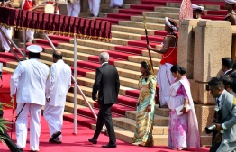 Colombo, February 5, 2019: Sri Lankan President Maithripala Sirisena and First Lady Jayanthi Pushpa Kumari, officially welcome Maldivian President Ibrahim Mohamed Solih and First Lady Fazna Ahmed on their first state visit to Sri Lanka. PHOTO/PRESIDENT'S OFFICE