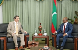 The Ambassador of the European Union to the Maldives sits down with Minister of Foreign Affairs Abdulla Shahid. PHOTO: MINISTRY OF FOREIGN AFFAIRS.
