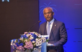 President Ibrahim Mohamed Solih speaking at the anniversary function of State Bank of India (SBI). PHOTO: PRESIDENT'S OFFICE