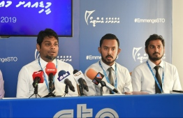 Managing Director of State Trading Organization (STO) Hussain Amru (L) during a STO held press conference. PHOTO: HUSSAIN WAHEED/MIHAARU