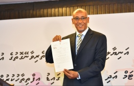 UNICEF Representative Mohamed El Munir Safieldin releasing the new anti-bullying policy. PHOTO: HUSSAIN WAHEED/MIHAARU