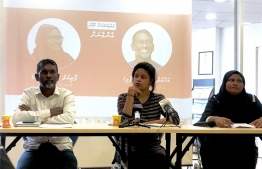 Press conference held by Navaanavai to introduce two candidates they will be endorsing in the parliamentary elections. The movement condemned the arrest of migrant workers on strike at Thilafushi this Tuesday. PHOTO: THE EDITION