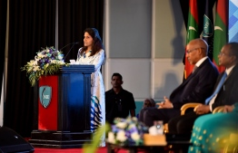 First Lady Fazna Ahmed delivering an address at the opening ceremony of the symposium on reviewing the national curriculum. PHOTO: PRESIDENT'S OFFICE