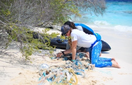Stand Up of Our Seas carrying out a clean-up in Mendhoo. PHOTO: JAMES APPLETON PHOTOGRAPHY