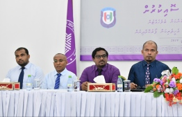 Members of Elections Commission at a joint press conference with Maldives Police Service in February 2019. PHOTO: HUSSAIN WAHEED / MIHAARU