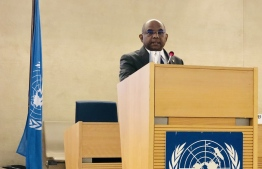 Addressing the High Level Segment of the Fortieth Session of the Human Rights Council Foreign Minister Abdulla Shahid. PHOTO: FOREIGN MINISTRY