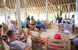 Stand Up For Our Seas Team conducting a presentation at luxury resort Soneva Fushi PHOTO: JAMES APPLETON