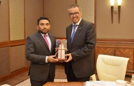 Minster of Health Abdulla Ameen and Director General of the World Health Organisation (WHO) Dr Tedros Adhanom. PHOTO: MINISTRY OF HEALTH