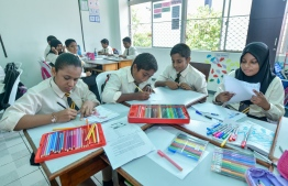 Students work on their school assignments. FILE PHOTO: NISHAN ALI / MIHAARU