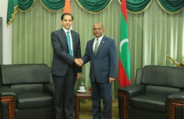 Ambassador of India to Maldives Sunjay Sudhir and Minister of Foreign Affairs Abdulla Shahid. PHOTO: MINISTRY OF FOREIGN AFFAIRS