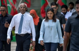 President Ibrahim Mohamed Solih and First Lady Fazna Ahmed taking part in the ceremony held at Maafushi to mark International Women's Day. PHOTO: AHMED NISHAATH / MIHAARU