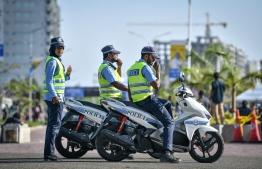 Three traffic policemen. PHOTO: NISHAN ALI/MIHAARU