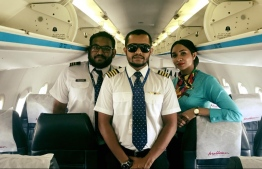 Flight Captain Abdul Baasith Ibrahim, First Officer Rimah Rushdhi, and In-Flight Supervisor Hasna Mohamed. PHOTO: MOHAMED YAMEEN