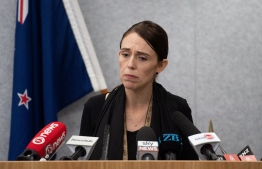New Zealand Prime Minister Jacinda Ardern speaks to the media during a press conference at the Justice Precinct in Christchurch on March 16, 2019. - A right-wing extremist who filmed himself rampaging through two mosques in the quiet New Zealand city of Christchurch killing 49 worshippers appeared in court on a murder charge on March 16, 2019. (Photo by Marty MELVILLE / OFFICE OF PRIME MINITER NEW ZEALAND / AFP)