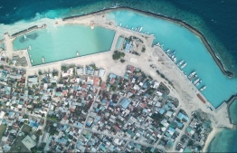 Aerial view of Naifaru in Lhaviyani Atoll. Telecom giant Ooredoo Maldives launched their SuperNet Fixed Broadband services on the island. PHOTO: MIHAARU FILES
