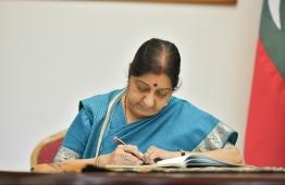 Indian Minister of External Affairs Sushma Swaraj. PHOTO: HUSSAIN WAHEED / MIHAARU