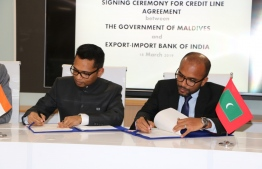 Signing ceremony for credit line agreement between the government of Maldives and Export-Import Bank of India. PHOTO: MIHAARU / AHMED SAAIL ALI