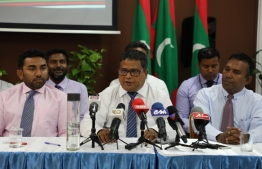 Minister of Environment Dr Hussain Rasheed Hassan speaking in the media event held to ensure the safety of tap water for public consumption. PHOTO: MINISTRY OF ENVIRONMENT.  Clean Water, drinking water safe, environment ministry