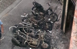 The motorcycles that were torched near Ihsaan Fihaara in Male'. PHOTO: MIHAARU FILES.