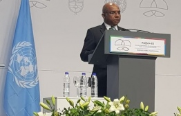 Minister of Foreign Affairs Abdulla Shahid speaking at BAPA+40. PHOTO: MINISTRY OF FOREIGN AFFAIRS