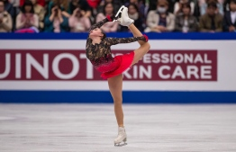 Russia's Alina Zagitova performs in the ladies free skating during the ISU world figure skating championships in the Japanese city of Saitama on March 22, 2019. (Photo by Nicolas Datiche / Nicolas Datiche / AFP)