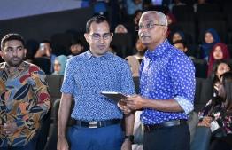 President Ibrahim Mohamed Solih launches 'island.mv' web portal. PHOTO: NISHAN ALI / MIHAARU