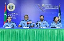 The press conference held by Maldives Police Services to provide details about the preparations undertaken by Police to ensure peaceful parliamentary elections. PHOTO: NISHAN ALI / MIHAARU.