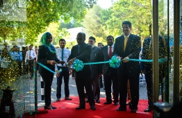 Minister of Finance Ibrahim Ameer at the opening ceremony for the new head office of Maldives Islamic Bank (MIB). PHOTO: HUSSAIN WAHEED/ MIHAARU