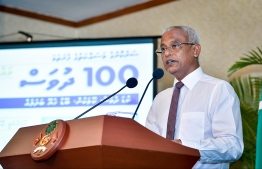 President Ibrahim Mohamed Solih speaking about the achievements of the first 100 days of his administration. PHOTO: NISHAN ALI / MIHAARU.