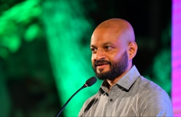 Faris Maumoon speaks at the campaign for the parliamentary election 2019. FILE PHOTO/MIHAARU