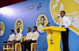 Former President and current leader of Maldives Democratic Party Mohamed Nasheed addresses meeting held at Fuvahmulah city, endorsing party candidates for the upcoming parliamentary elections. PHOTO: AHMED ANWAR
