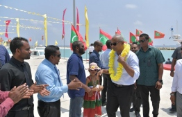 President Solih during his current tour of southern atolls for campaigning of candidates contesting from MDP. PHOTO: MDP