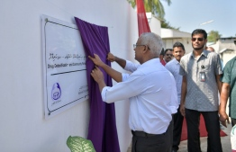 President Ibrahim Mohamed Solih inaugurating the Drug Detoxification and Community Rehabilitation Centre in Hanimaadhoo, Haa Dhaalu Atoll. PHOTO: PRESIDENT'S OFFICE