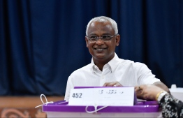 President Ibrahim Mohamed Solih casts his vote in the 2019 Parliamentary Election 2019. PHOTO: HUSSAIN WAHEED / MIHAARU