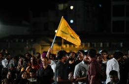 Members of Maldivian Democratic Party (MDP) celebrating their victory following the 2019 parliamentary elections. PHOTO: HUSSAIN WAHEED/MIHAARU