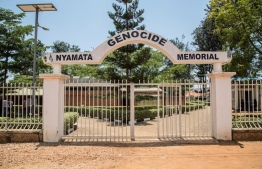 A picture taken on March 21, 2019 shows the entrance of the Nyamata Genocide Memorial, in Kigali. - On April 7, 2019, Rwanda will commemorate the 25th anniversary of the 1994 genocide. (Photo by Jacques NKINZINGABO / AFP)