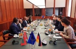 Foreign Minister Shahid and delegation meet with German Foreign Minister. PHOTO:  MDV GERMANY