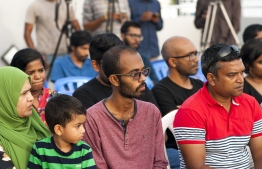 Friends, family and members of the press during the press conference held by Yameen Rasheed's and Ahmed Rilwan's family. PHOTO: AHMED AIHAM / THE EDITION