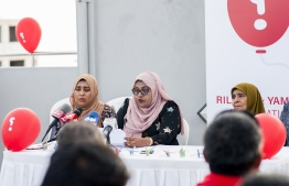 Family of murdered blogger Yameen Rasheed and missing journalist at the press conference held on Wednesday. PHOTO: AHMED AIHAM / THE EDITION