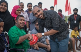 An official from BML at the launching ceremony of 'Fethun Tharin'. PHOTO: BANK OF MALDIVES
