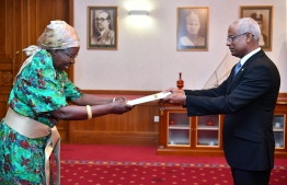 Ambassador-Designate of Uganda Grace Akello presents credentials to President Ibrahim Mohamed Solih. PHOTO/PRESIDENT'S OFFICE