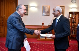 Ambassador–Designate of Palestine Walid A.M. Abu Ali presents credentials to President Ibrahim Mohamed Solih. PHOTO/PRESIDENT'S OFFICE