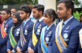 Students of Villa International High School where A'level students study in capital Male'. PHOTO: VIHS