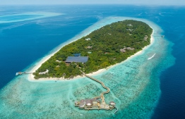 An aerial view of Soneva Fushi in the Biosphere reserve of Baa Atoll. PHOTO/SONEVA