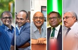 From left, Ahmed Adeeb, Dr Mohamed Jameel, Mohamed Waheed Deen, Dr Waheed Hassan Manik and Abdulla Jihad. PHOTO: MIHAARU