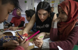UNICEF supporter and singer/songwriter Dua Lipa visits children at the Movement Social Center in Beirut  Lebanon, April 15, 2019. PHOTO: UNICEF