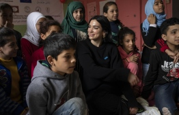 UNICEF supporter and singer/songwriter Dua Lipa visits children at the Najedh Association, a local NGO, in the Bourj el Barajneh Palestinian camp in Beirut, Lebanon, April 14, 2019. PHOTO: UNICEF