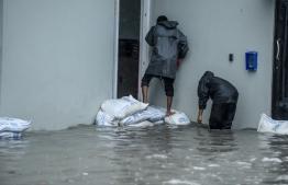Flooding in Ukulhas. PHOTO: MIHAARU