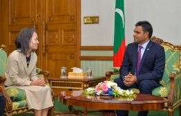 Shoko Noda pays farewell call on Vice President Faisal Naseem. PHOTO: PRESIDENT'S OFFICE